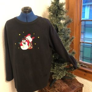 Christmas top with Snowman & Santa cute not ugly